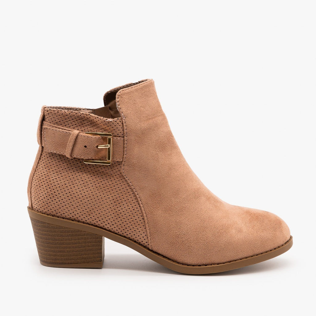 Womens Pinhole Buckle Booties - Forever - Dusty Pink / 5