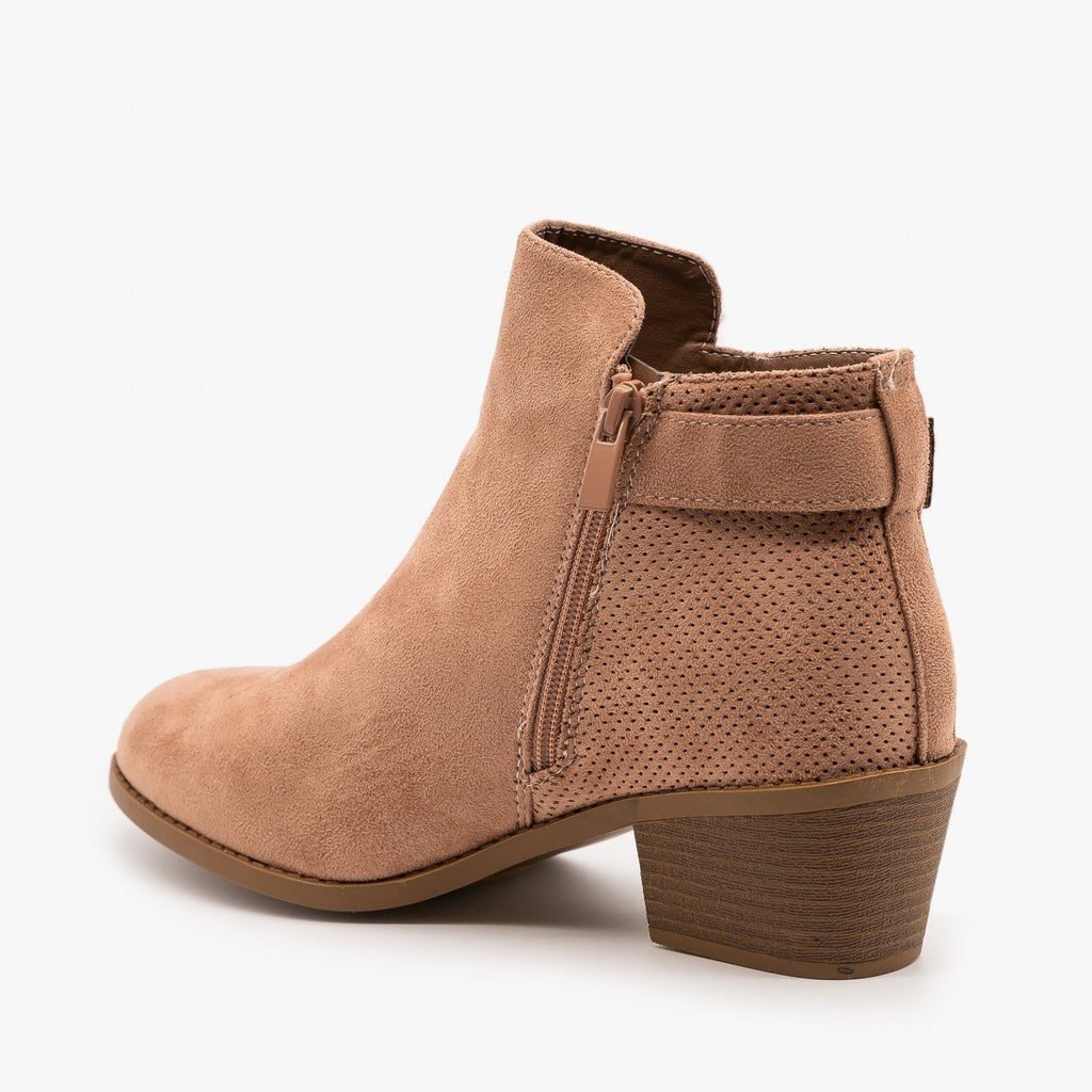 Womens Pinhole Buckle Booties - Forever