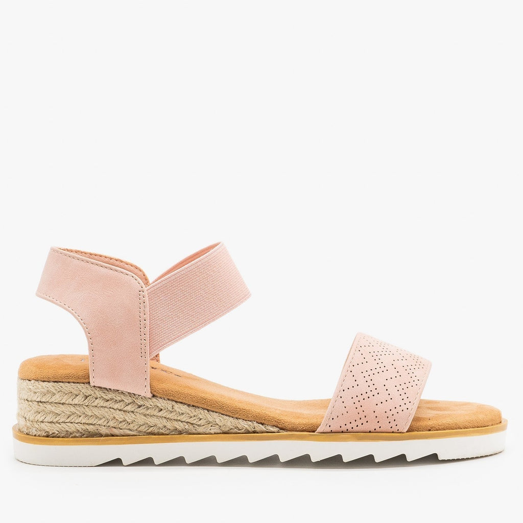 Womens Pinhole Espadrille Wedge Sandals - Bella Marie - Pink / 5