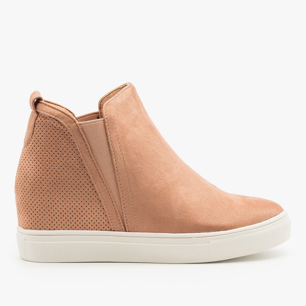 Womens Pinhole Heel Ankle Sneakers - Forever - Blush / 5