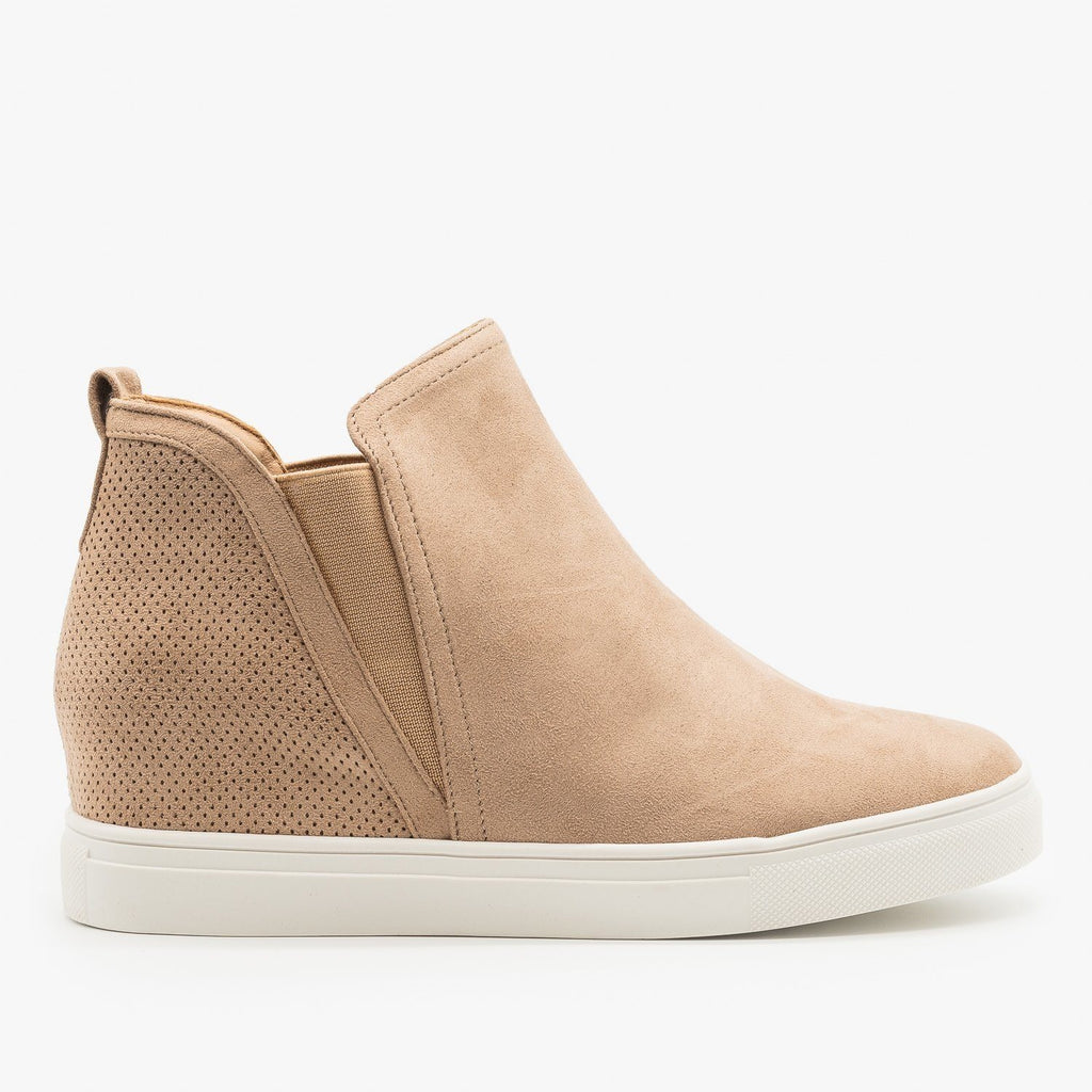 Womens Pinhole Heel Ankle Sneakers - Forever - Taupe / 5