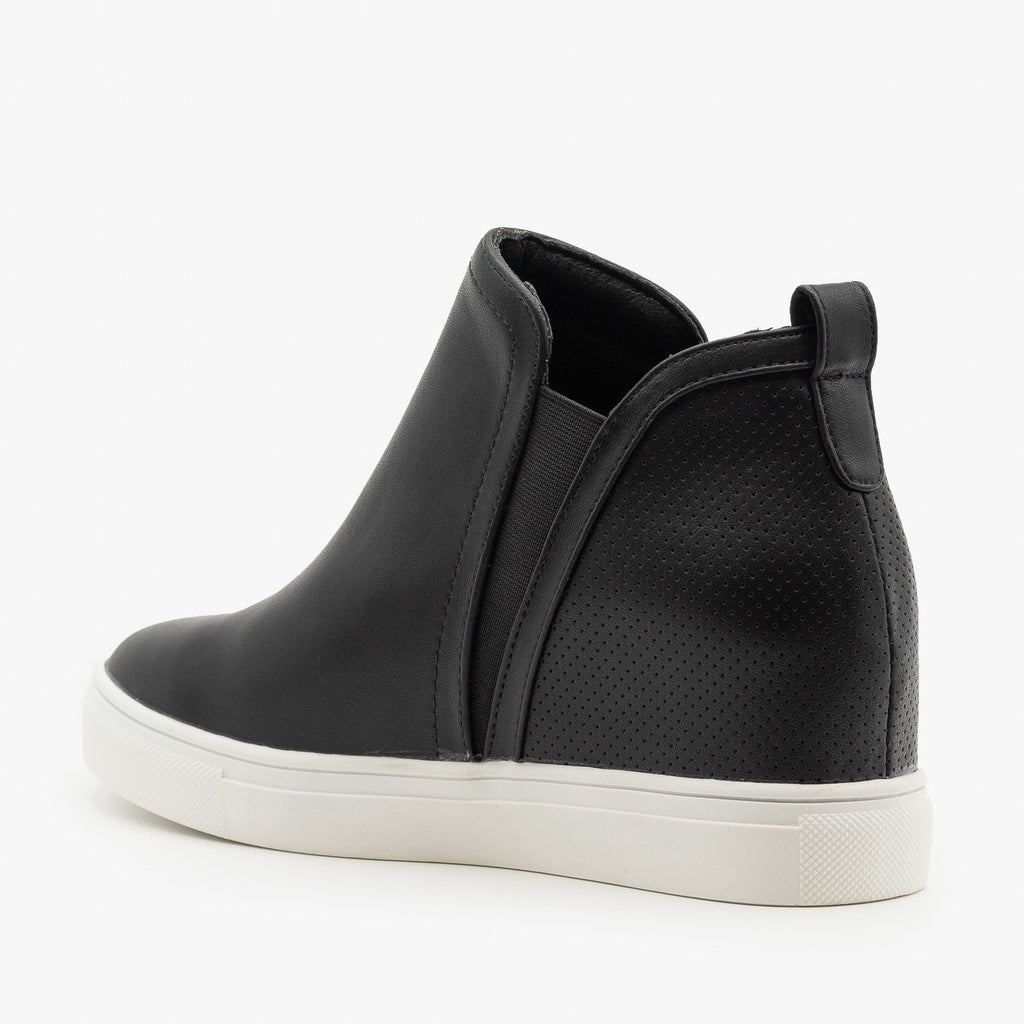 Womens Pinhole Heel Ankle Sneakers - Forever
