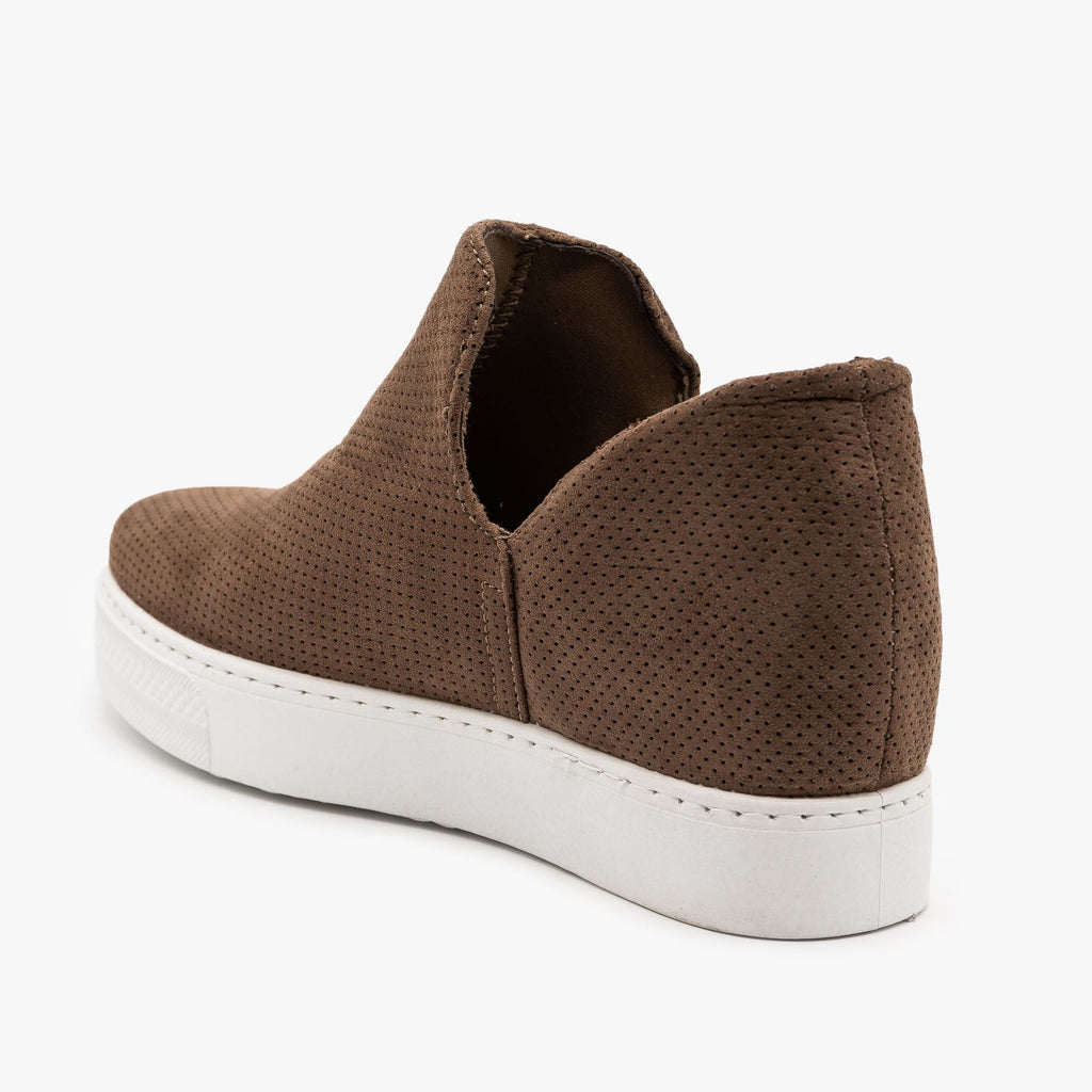 Womens Pinhole Inner Wedge Sneakers - Bamboo Shoes
