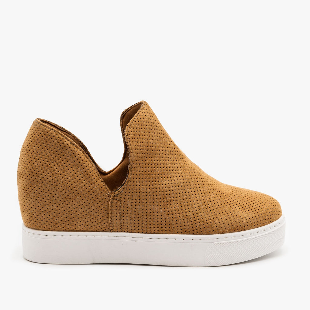 Womens Pinhole Inner Wedge Sneakers - Bamboo Shoes - Tan / 5