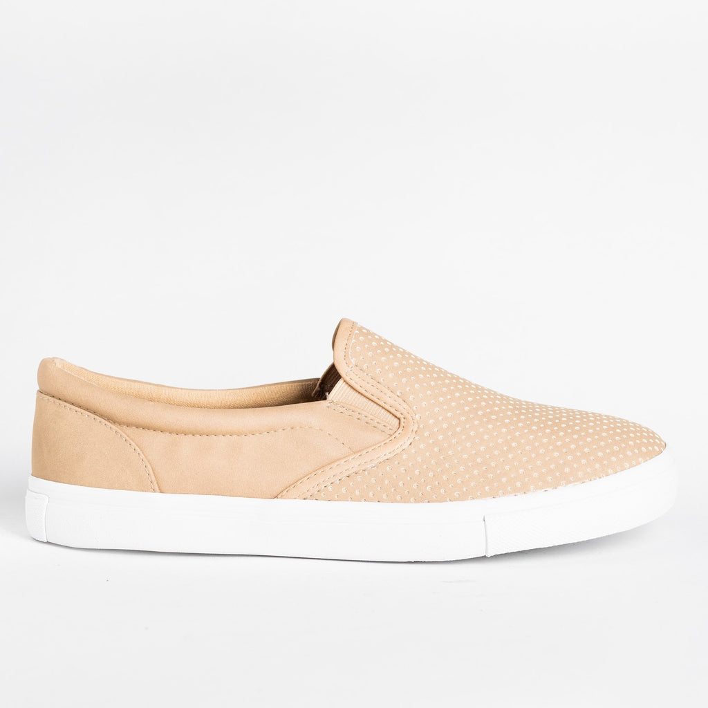 Womens Pinhole Slip-On Summer Sneakers - Soda Shoes - Camel / 5