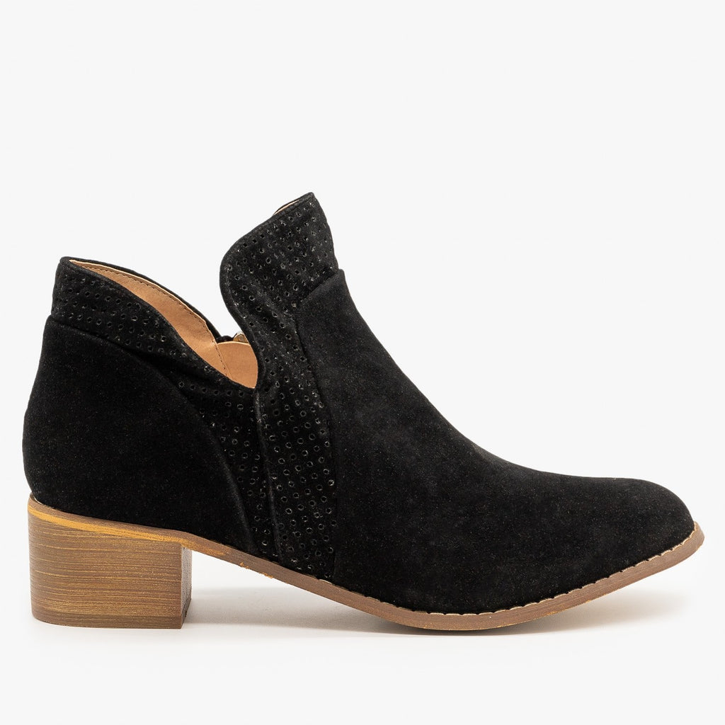 Womens Pinhole Tulip Cut Booties - AMS Shoes - Black / 5