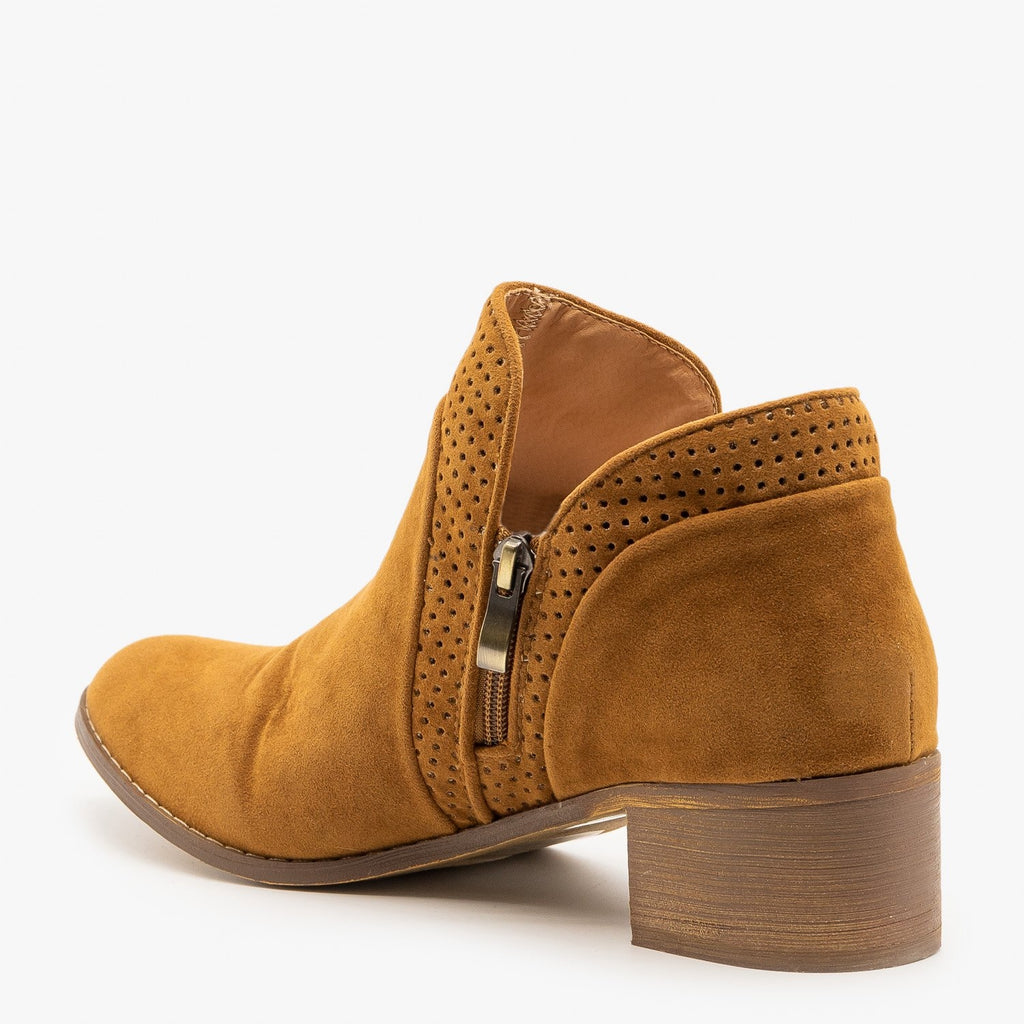 Womens Pinhole Tulip Cut Booties - AMS Shoes