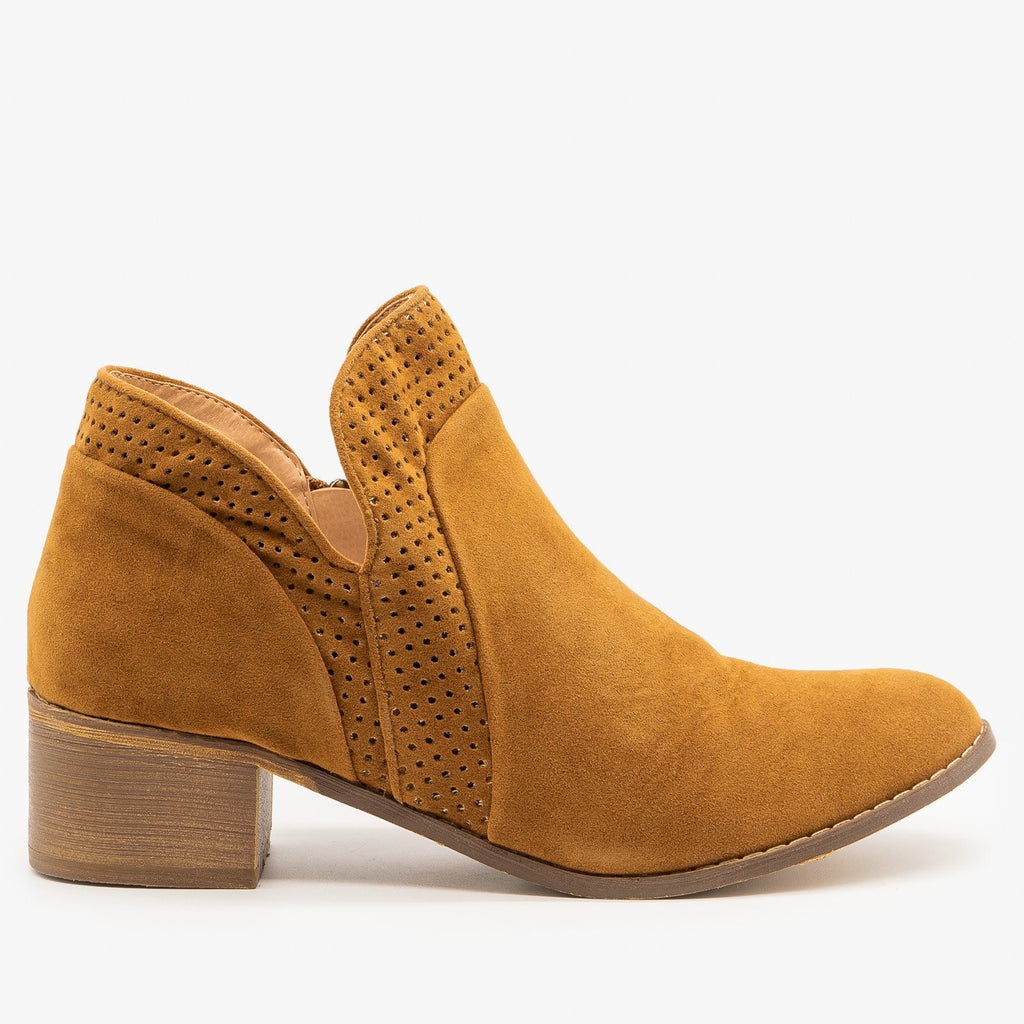 Womens Pinhole Tulip Cut Booties - AMS Shoes - Tan / 5