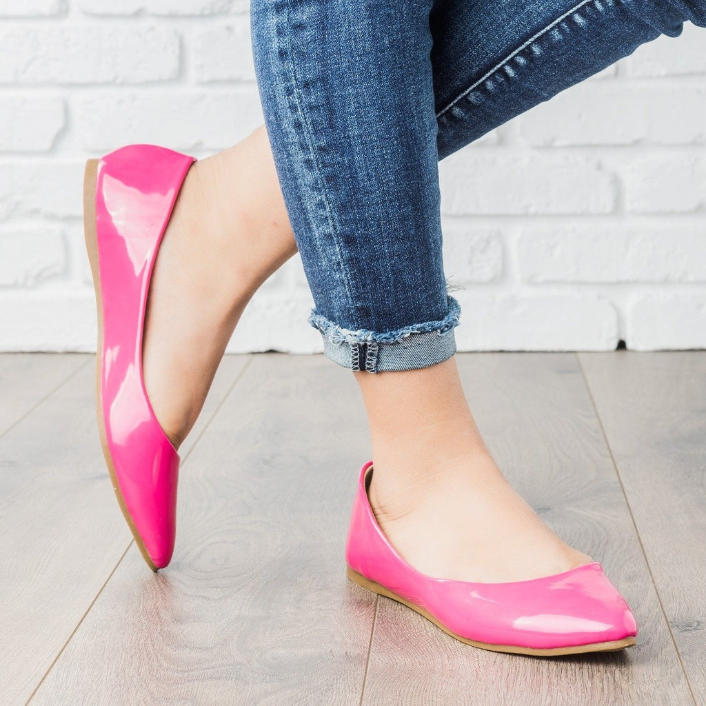 Womens Pink Almond Toe Flats - Bella Marie