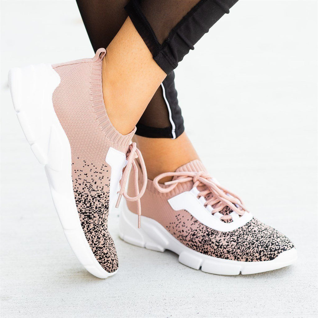Womens Pixelated Flyknit Athletic Sneakers - Qupid Shoes