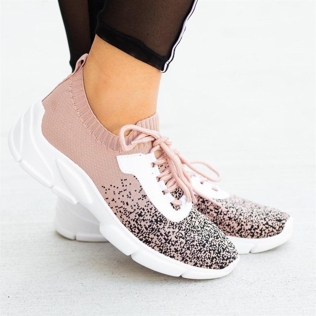Womens Pixelated Flyknit Athletic Sneakers - Qupid Shoes - Nude Black / 5