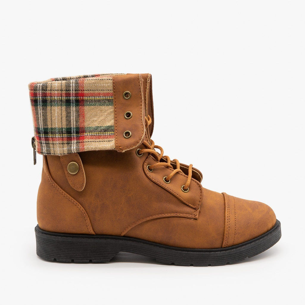 Womens Plaid Cuffed Combat Boots - Weeboo - Cognac / 5
