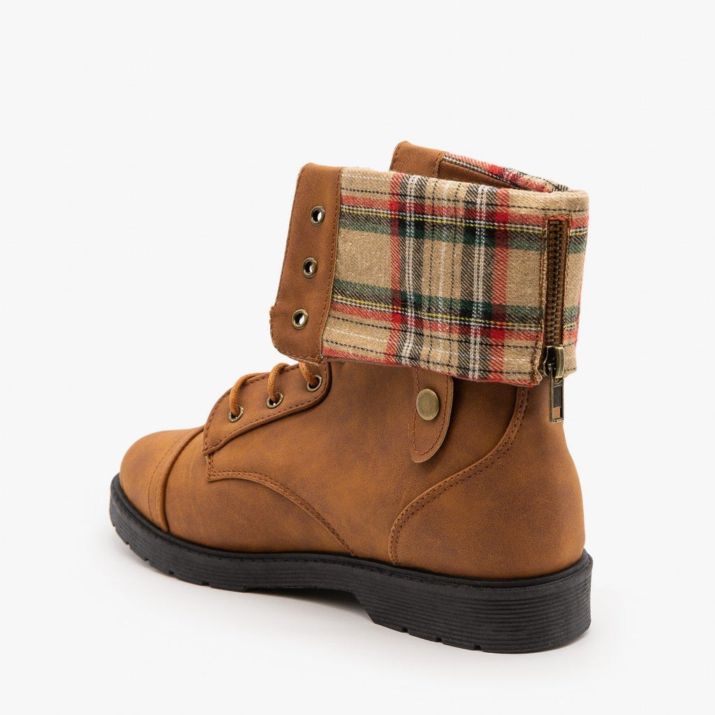 Womens Plaid Cuffed Combat Boots - Weeboo