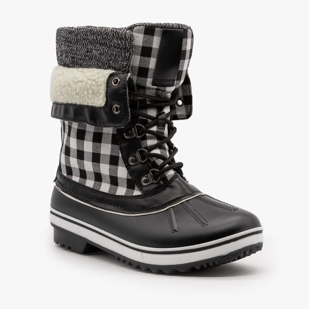 Womens Plaid Double Cuff Duck Boots - Forever - Black White / 5