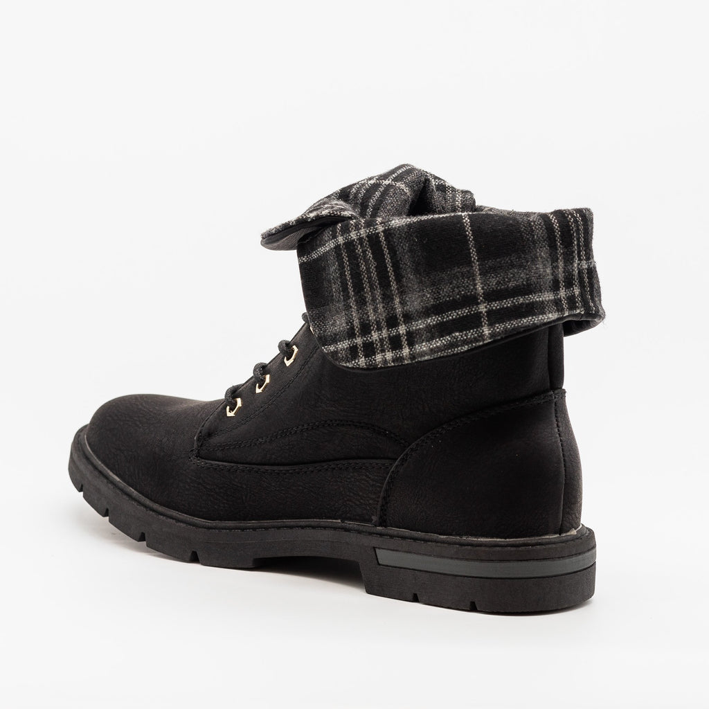 Womens Plaid Fold Over Combat Boots - Bella Marie