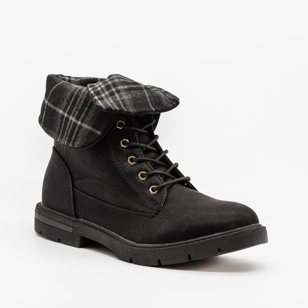 Womens Plaid Fold Over Combat Boots - Bella Marie - Black / 5