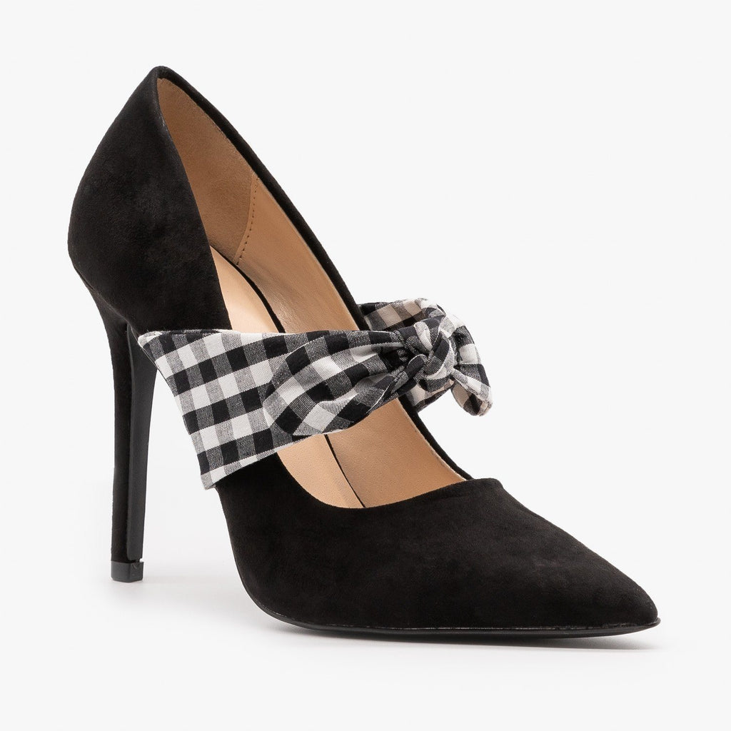 Womens Plaid Ribbon Stiletto Pumps - Qupid Shoes - Black / 5