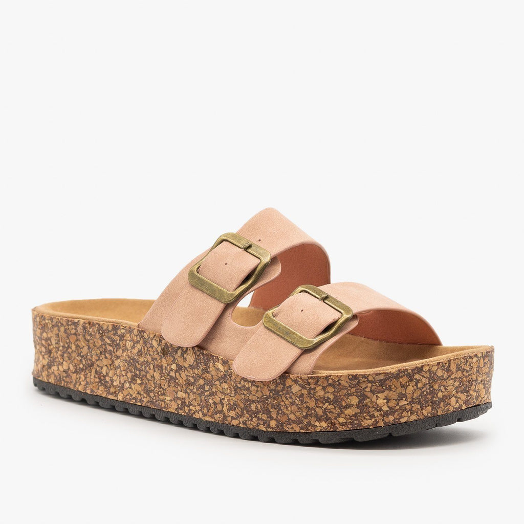 Womens Platform Double Buckle Cork Slides - Refresh - Mauve / 5