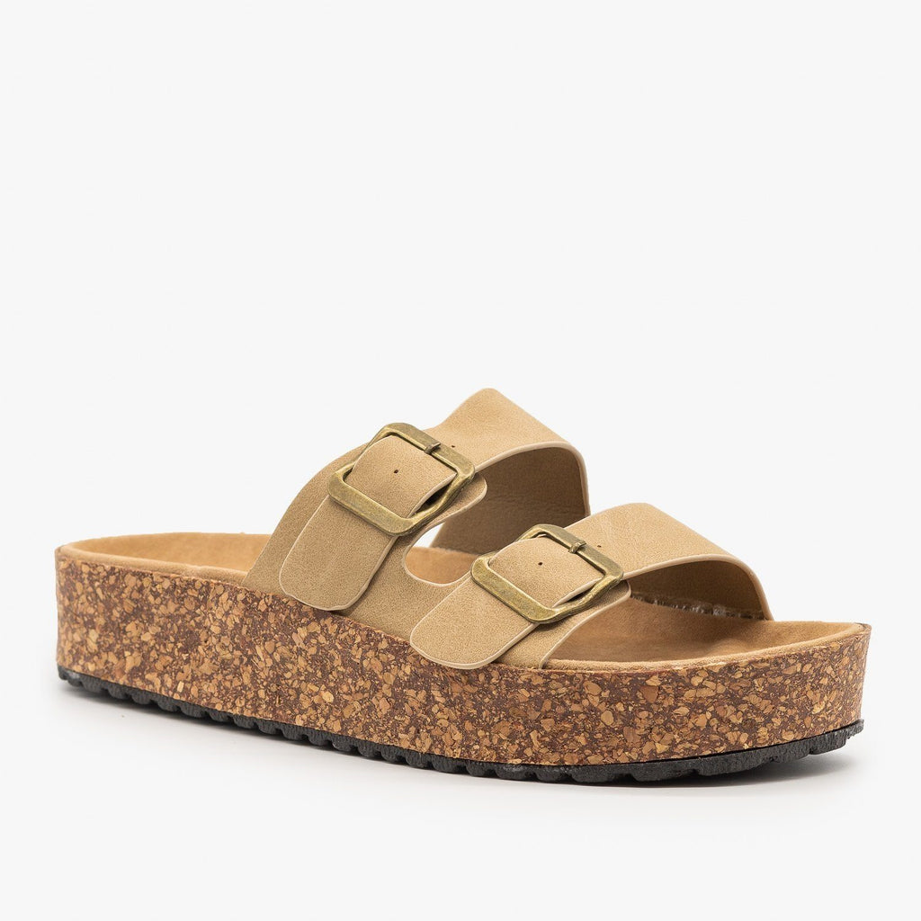 Womens Platform Double Buckle Cork Slides - Refresh - Tan / 5
