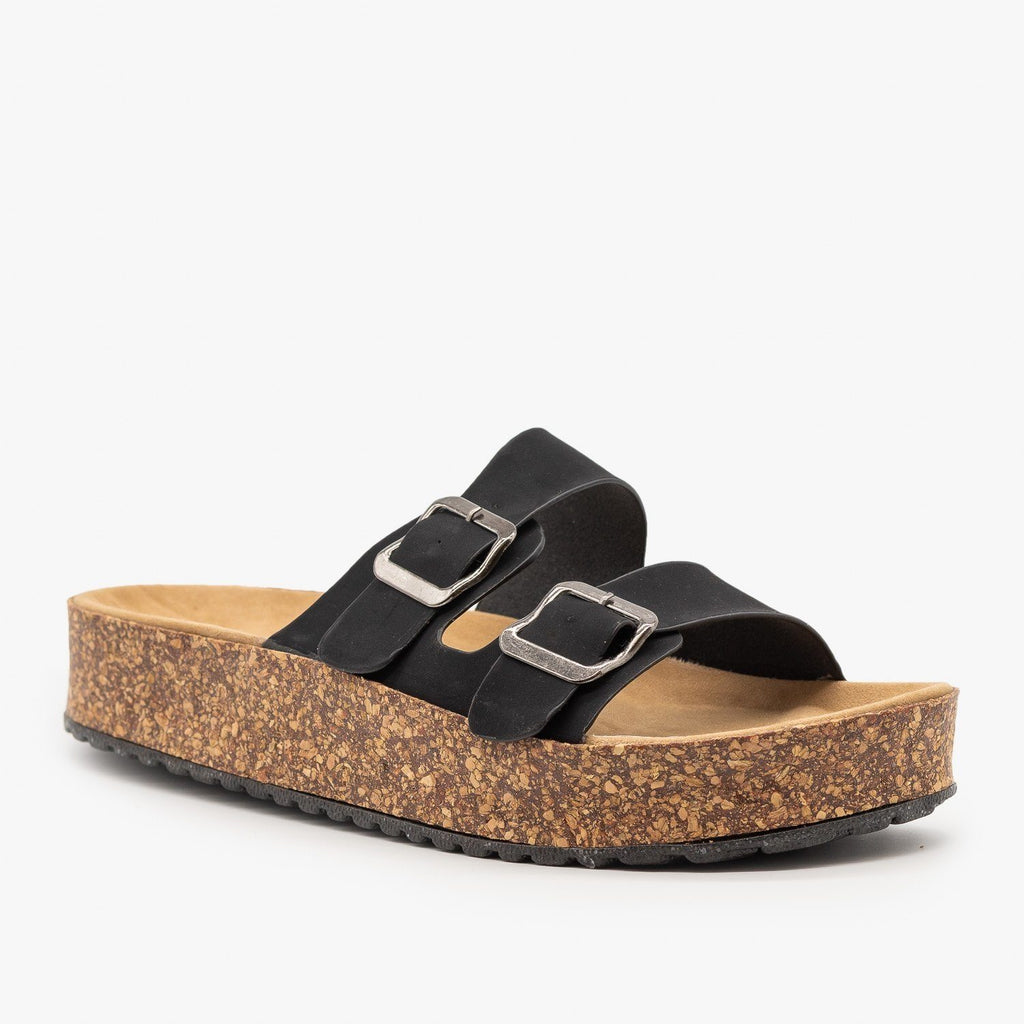 Womens Platform Double Buckle Cork Slides - Refresh - Black / 5