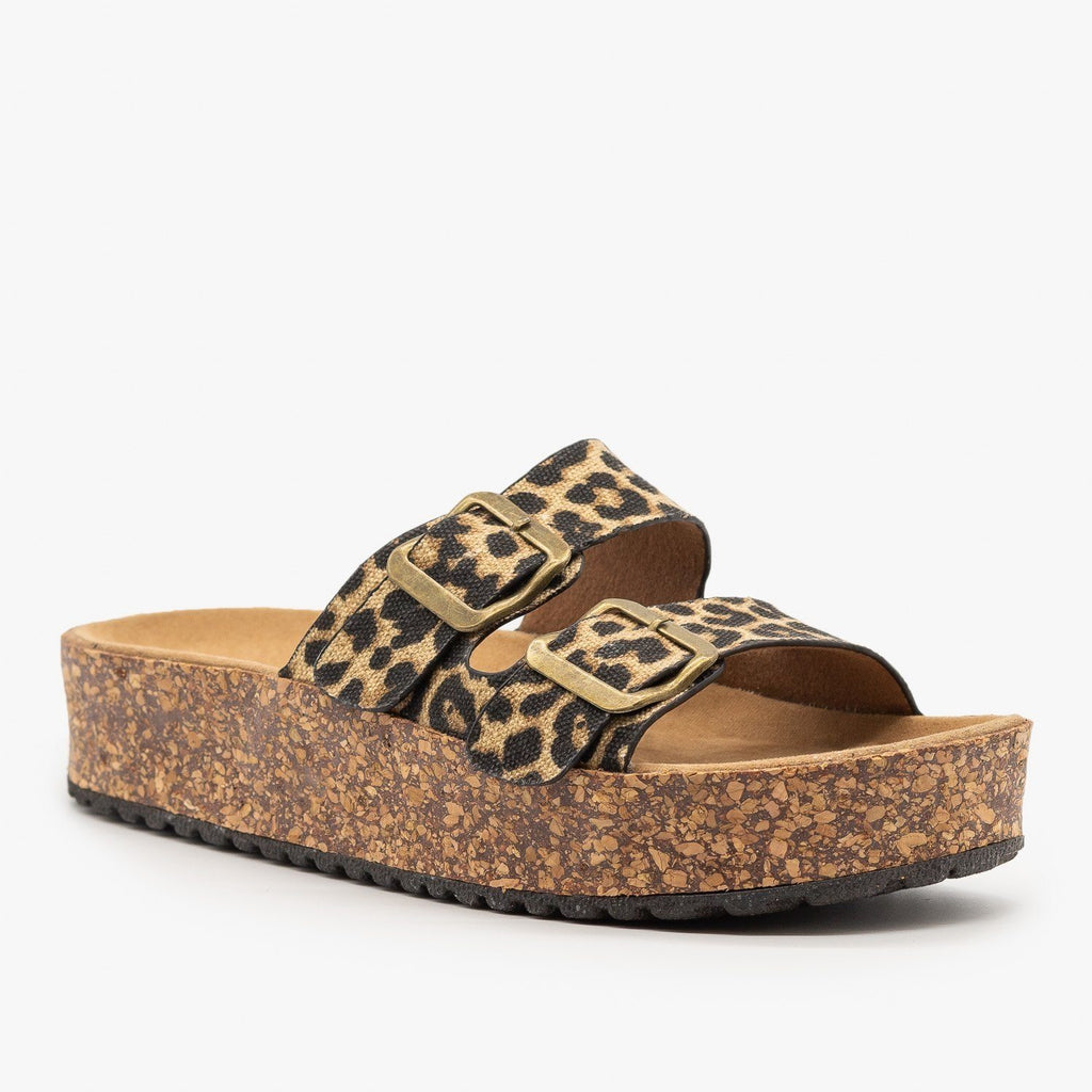 Womens Platform Double Buckle Cork Slides - Refresh - Leopard / 5
