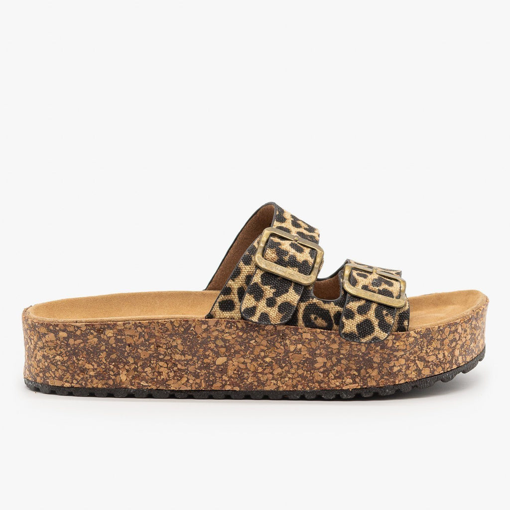 Womens Platform Double Buckle Cork Slides - Refresh
