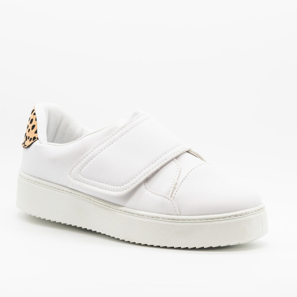 Womens Platform Velcro Strap Sneakers - Qupid Shoes - White / 5