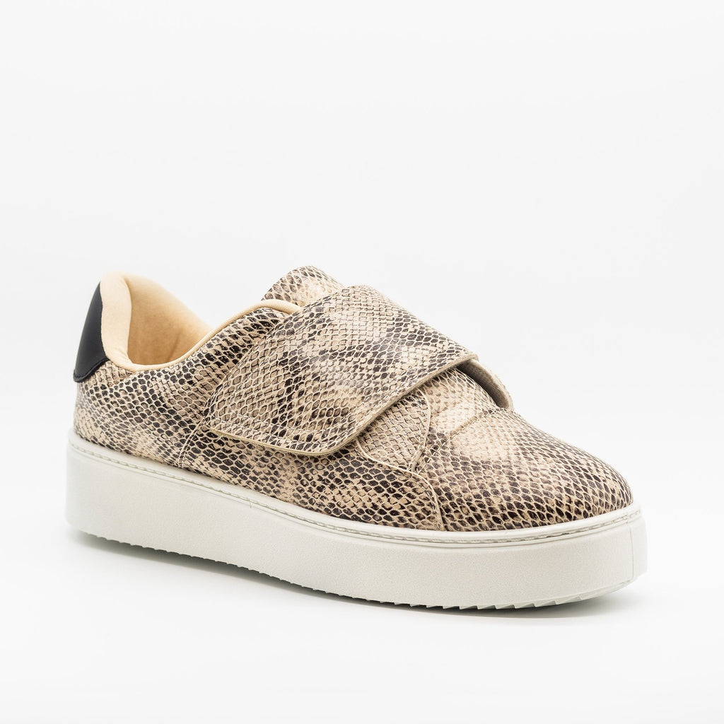 Womens Platform Velcro Strap Sneakers - Qupid Shoes - Snake / 5