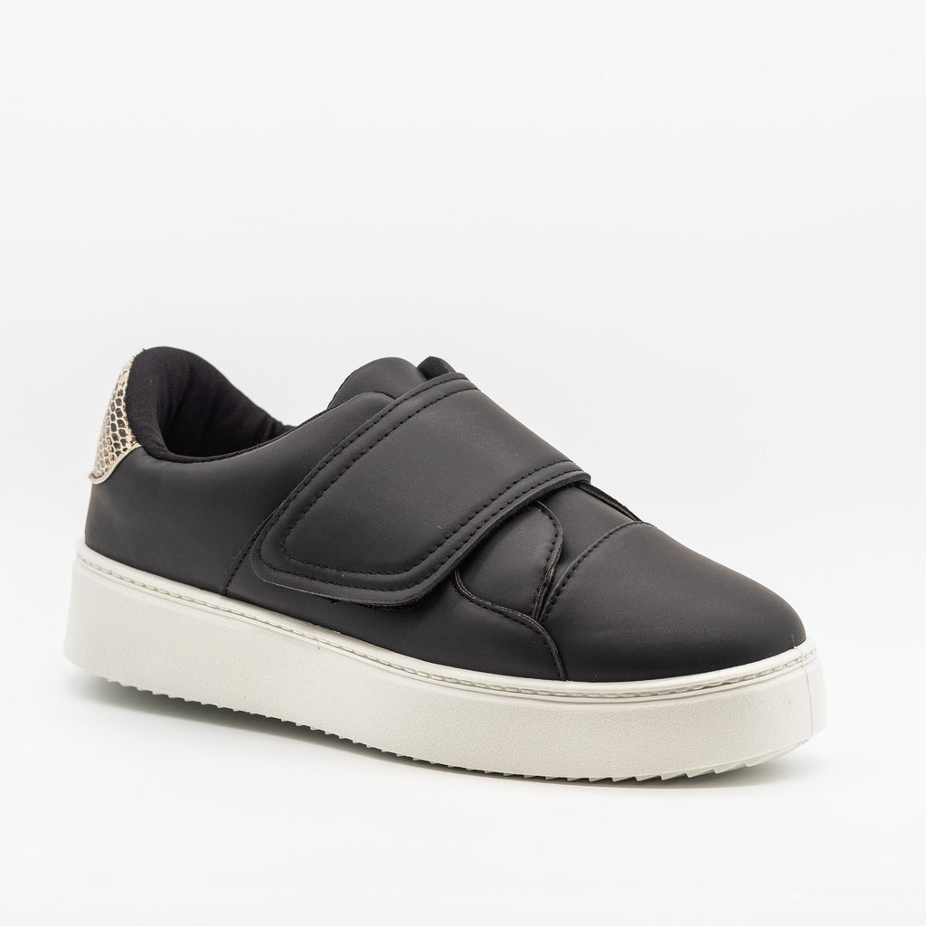 Womens Platform Velcro Strap Sneakers - Qupid Shoes - Black / 5
