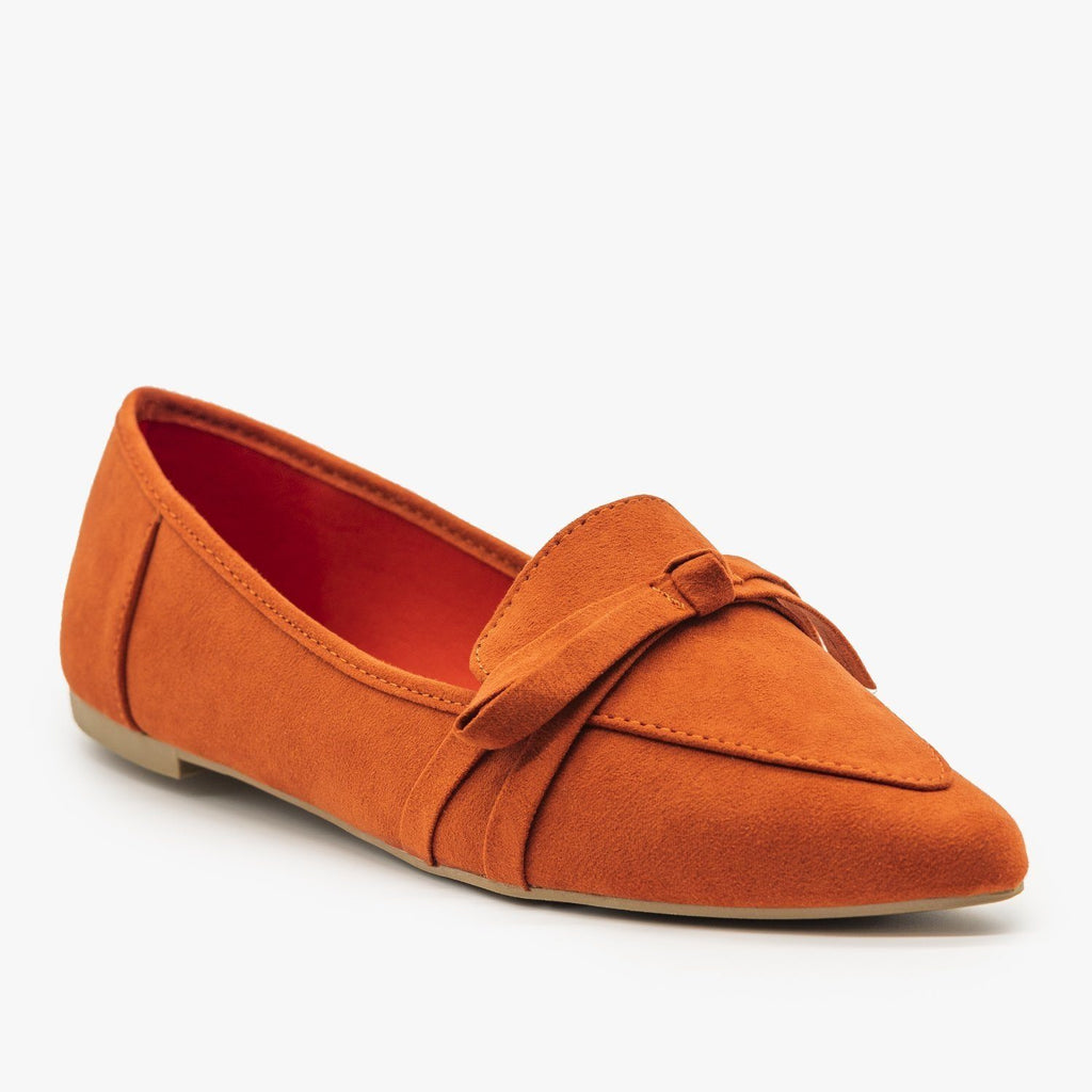 Womens Pointed Bow Tie Loafers - Bamboo Shoes - 5 / Rust