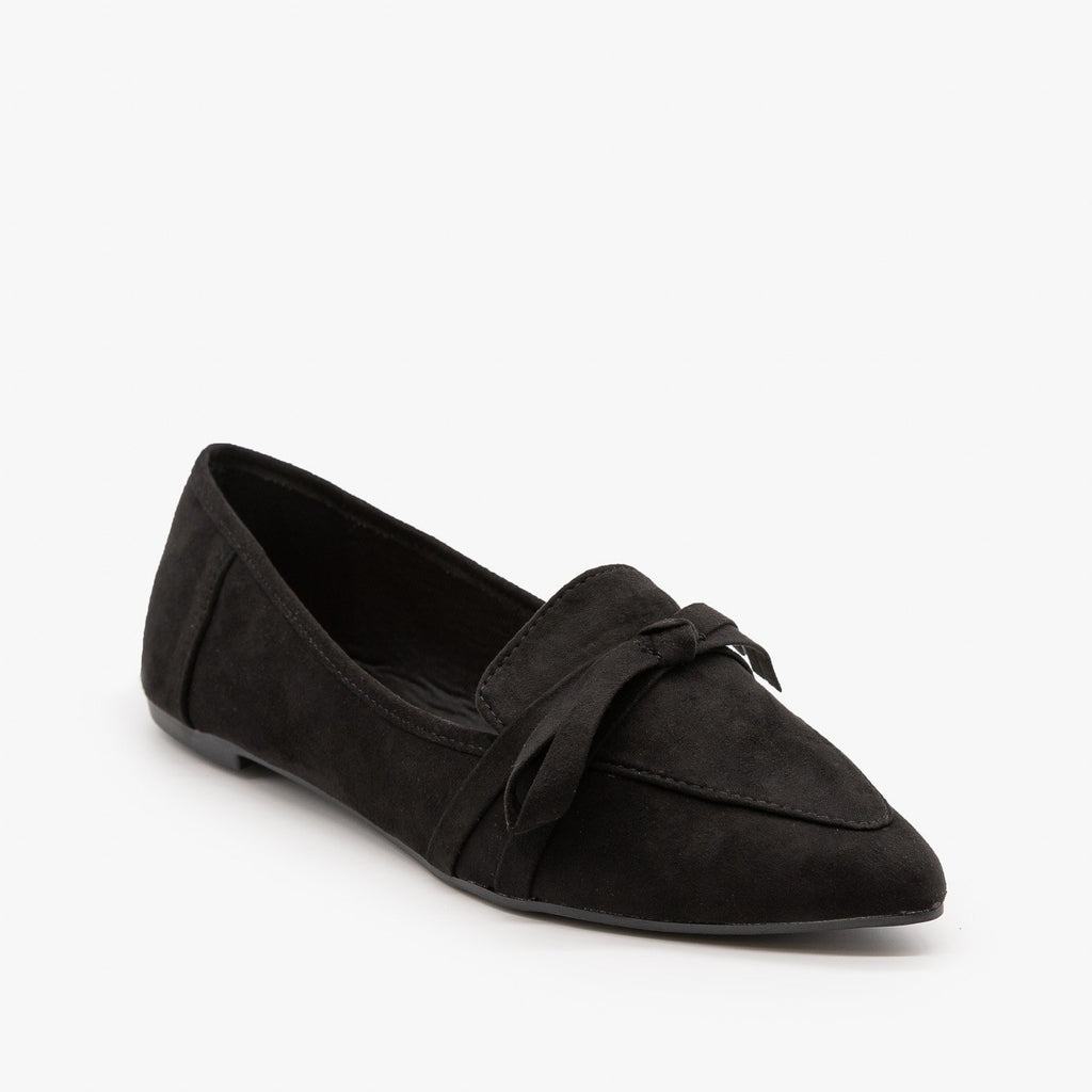 Womens Pointed Bow Tie Loafers - Bamboo Shoes - 5 / Black