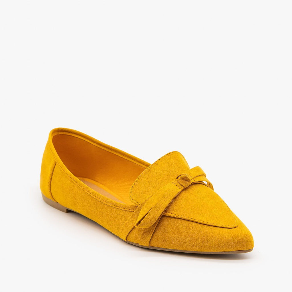 Womens Pointed Bow Tie Loafers - Bamboo Shoes - 5 / Mustard