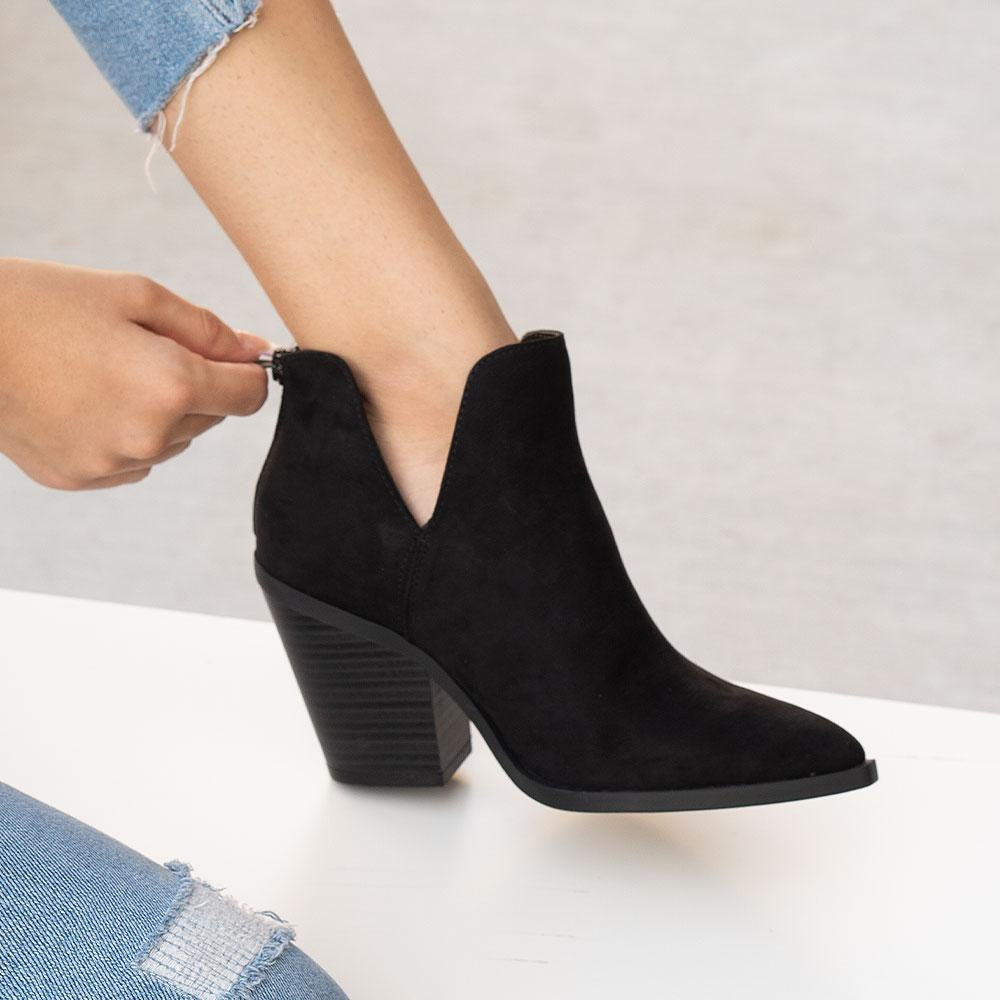 Women's Pointed-Squared Toe Booties - Bamboo Shoes - Black / 5