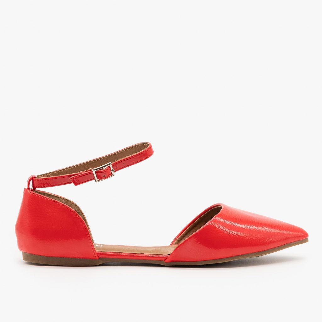 Womens Pointed Toe Ankle Strap dOrsay Flats - Bella Marie - Red / 5