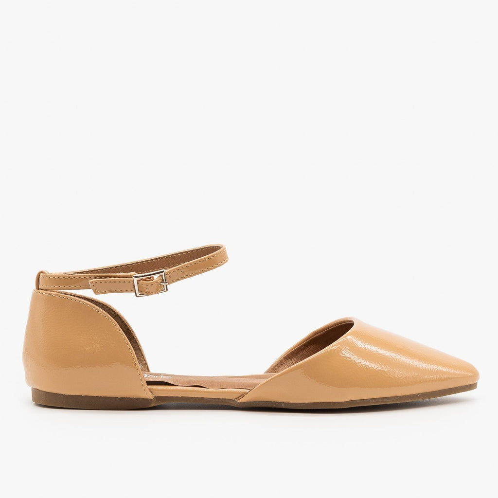 Womens Pointed Toe Ankle Strap dOrsay Flats - Bella Marie - Nude / 5