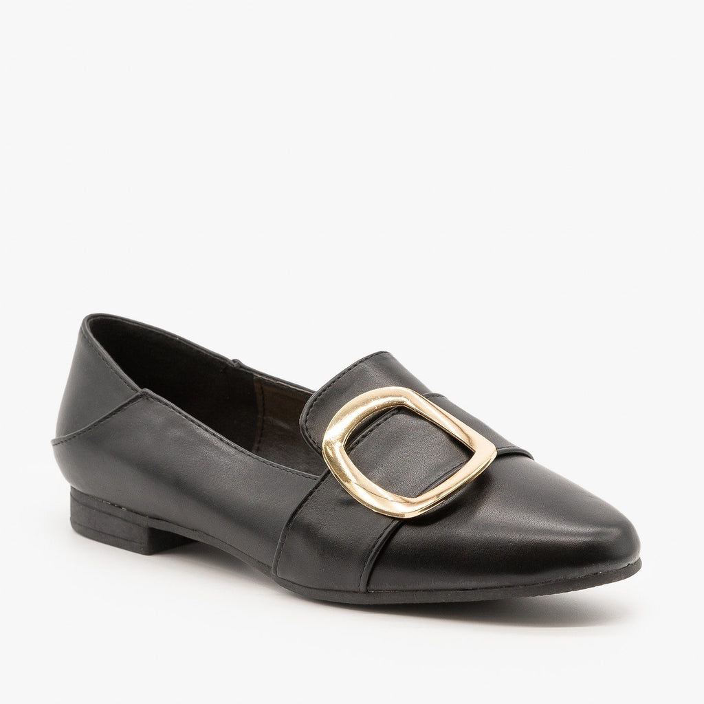 Womens Pointed Toe Buckle Loafers - Weeboo - Black / 5