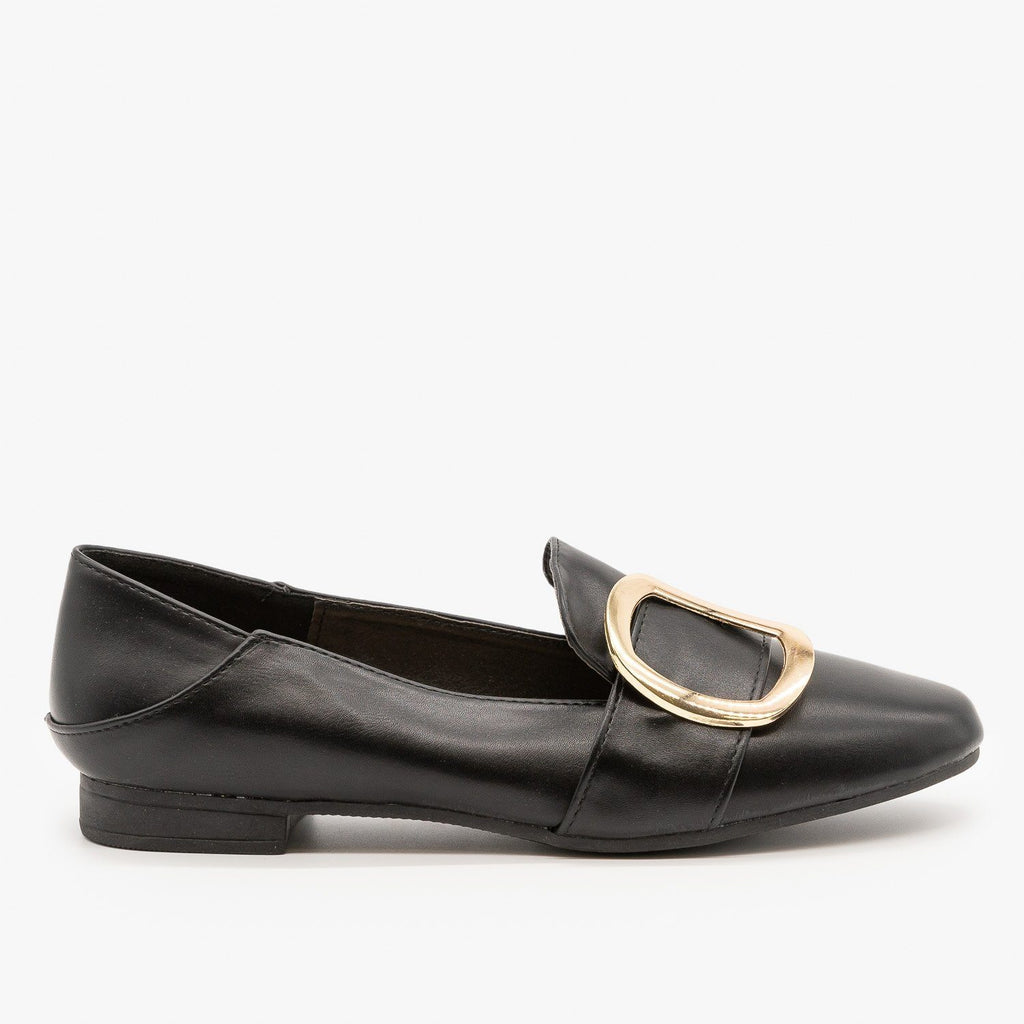 Womens Pointed Toe Buckle Loafers - Weeboo