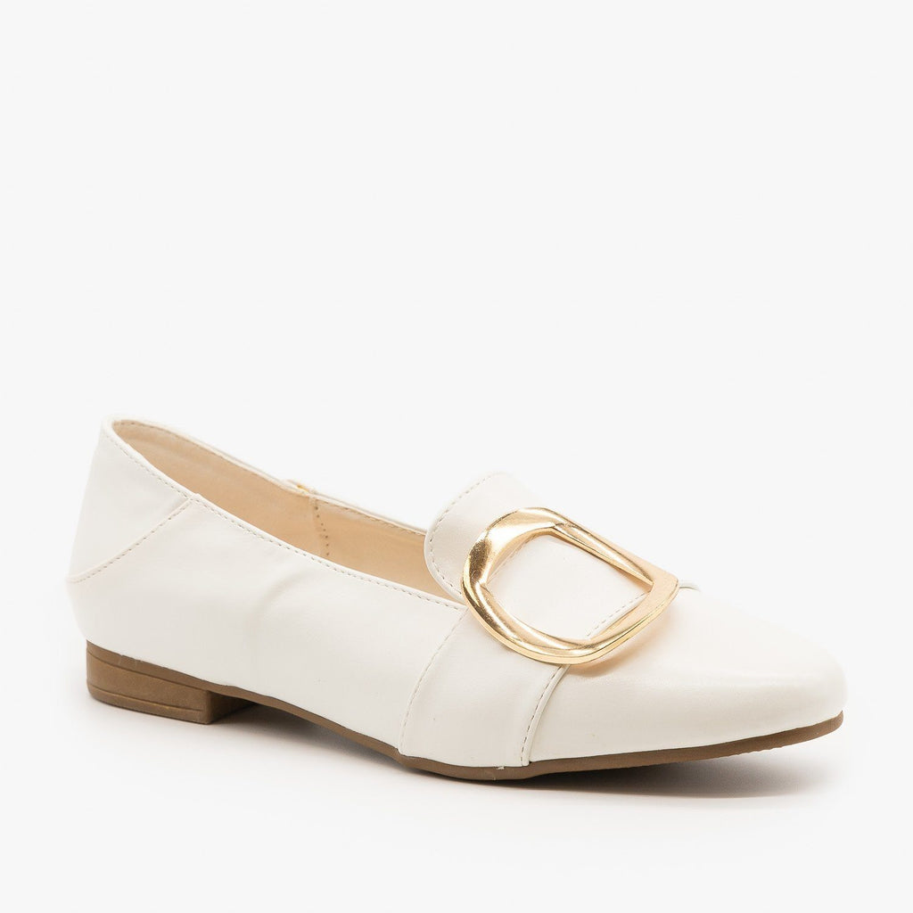 Womens Pointed Toe Buckle Loafers - Weeboo - White / 5