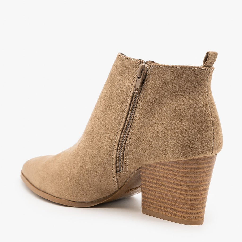 Womens Pointed Toe Diva Ankle Booties - Qupid Shoes
