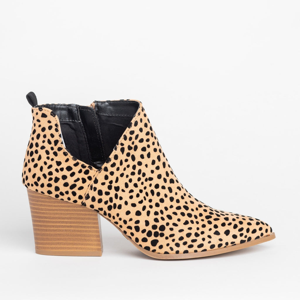 Womens Pointed Toe Diva Ankle Booties - Qupid Shoes - Tan Black Leopard / 5