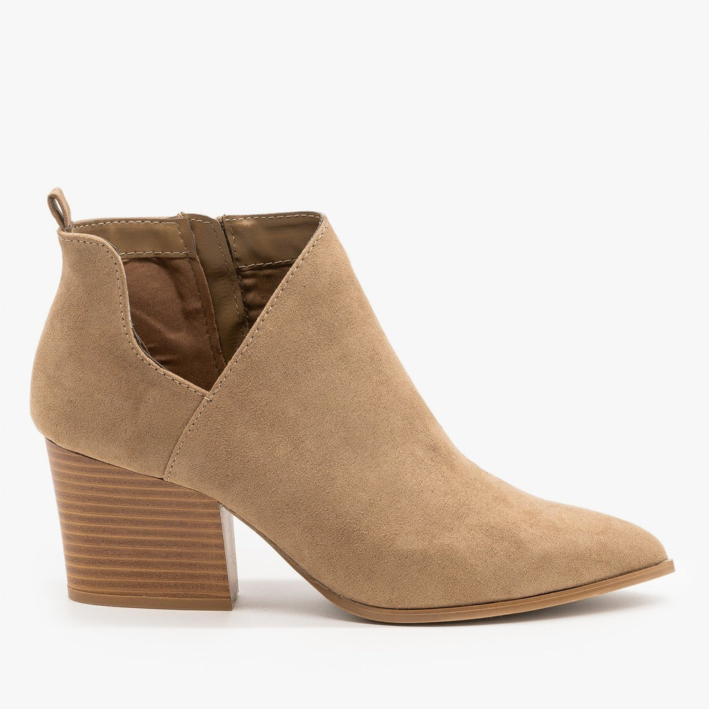 Womens Pointed Toe Diva Ankle Booties - Qupid Shoes - Taupe / 5