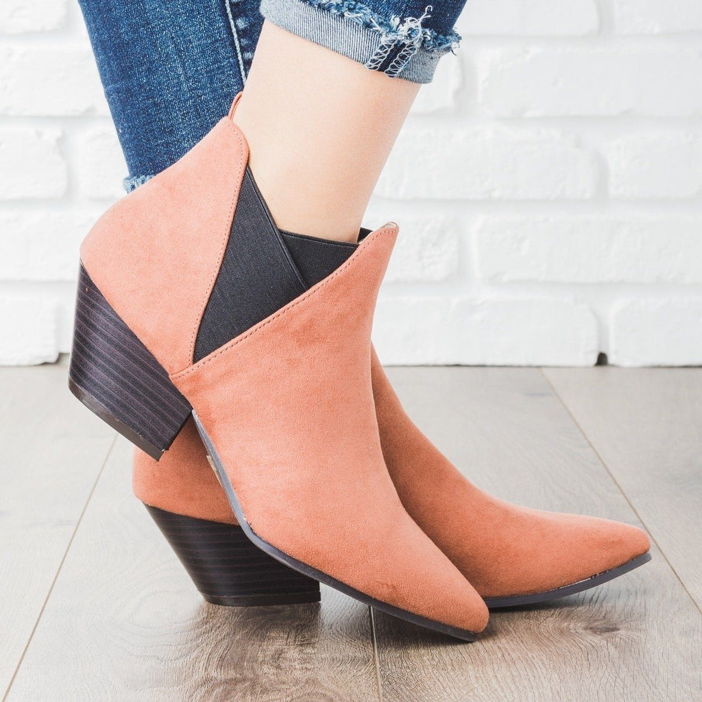 Womens Pointed Toe Faux Suede Booties - Qupid Shoes