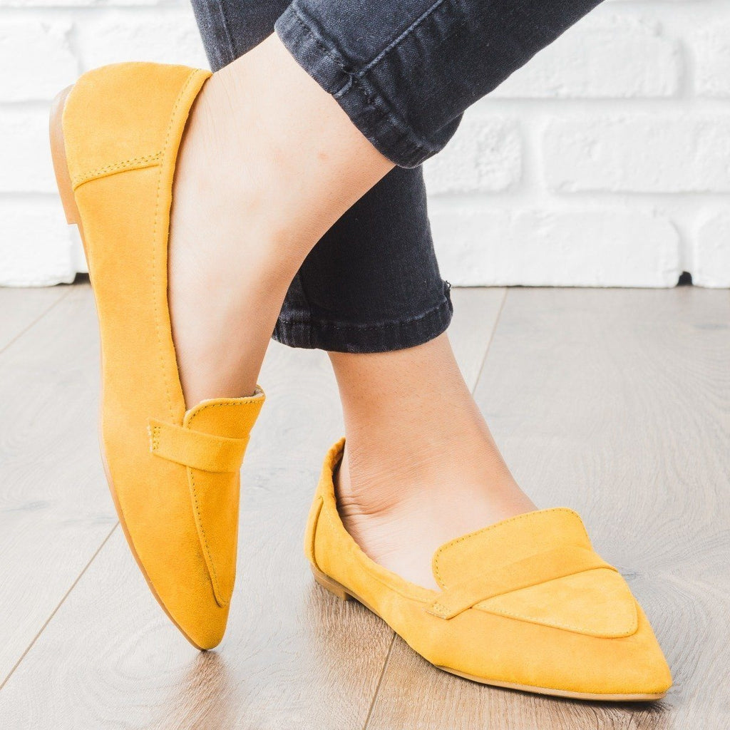 Womens Pointed Toe Loafer Flats - Bamboo Shoes - Marigold / 5