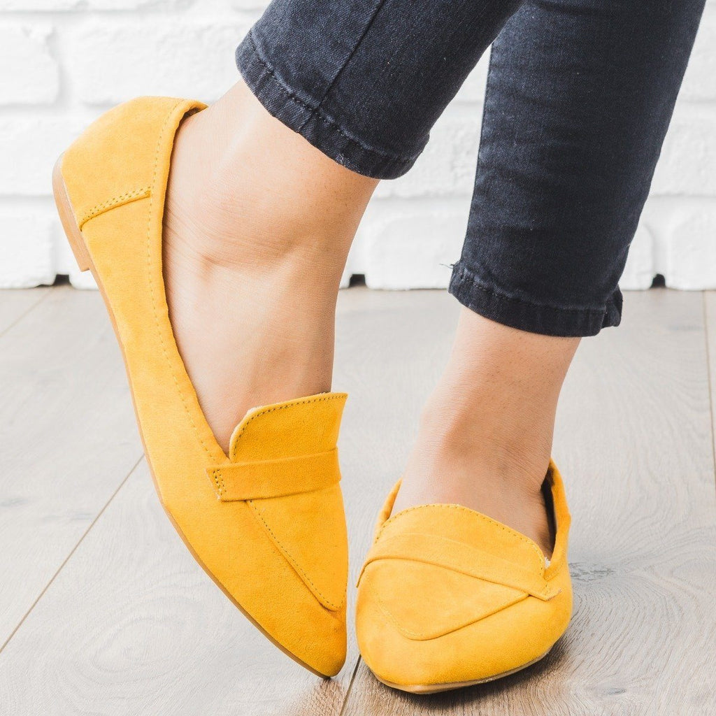 Womens Pointed Toe Loafer Flats - Bamboo Shoes