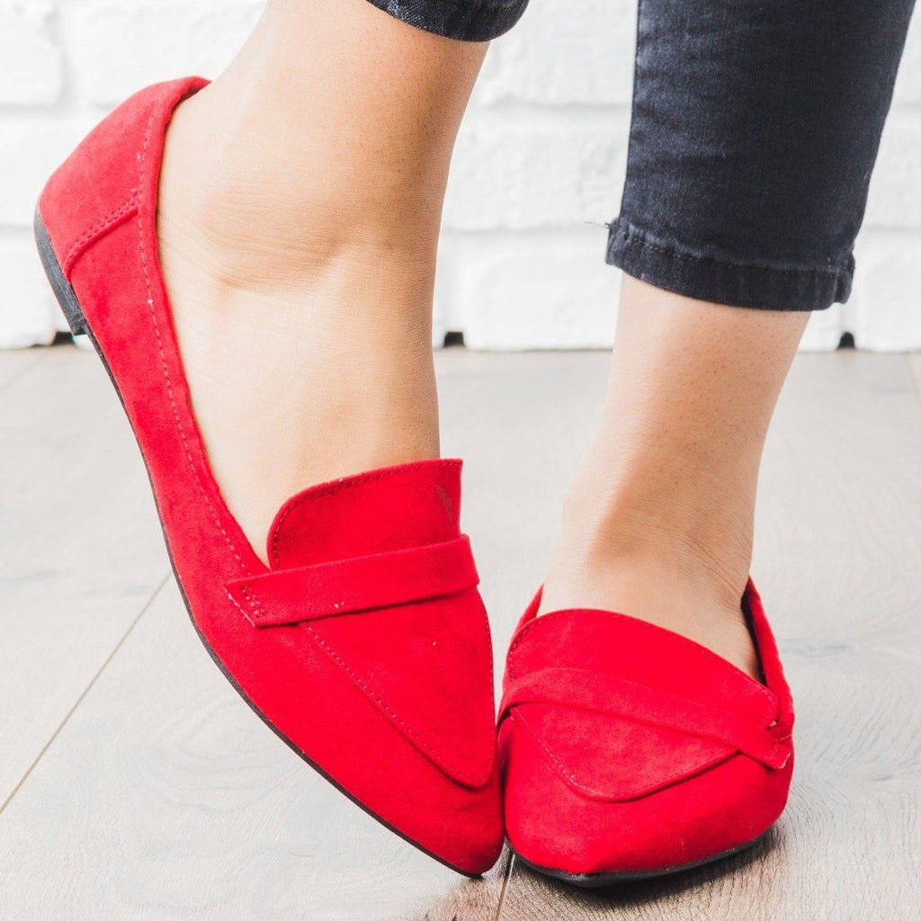 Womens Pointed Toe Loafer Flats - Bamboo Shoes - Red / 5
