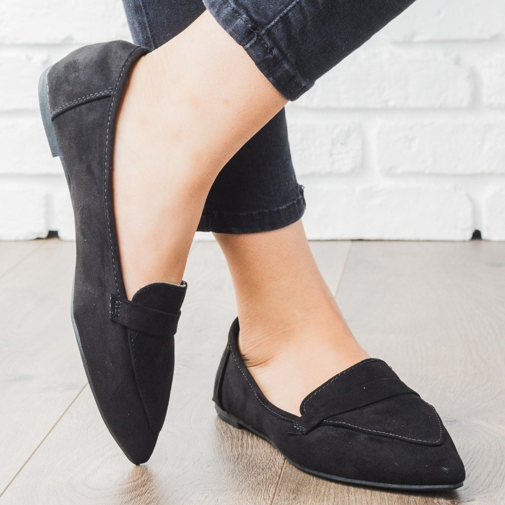 Womens Pointed Toe Loafer Flats - Bamboo Shoes - Black / 5