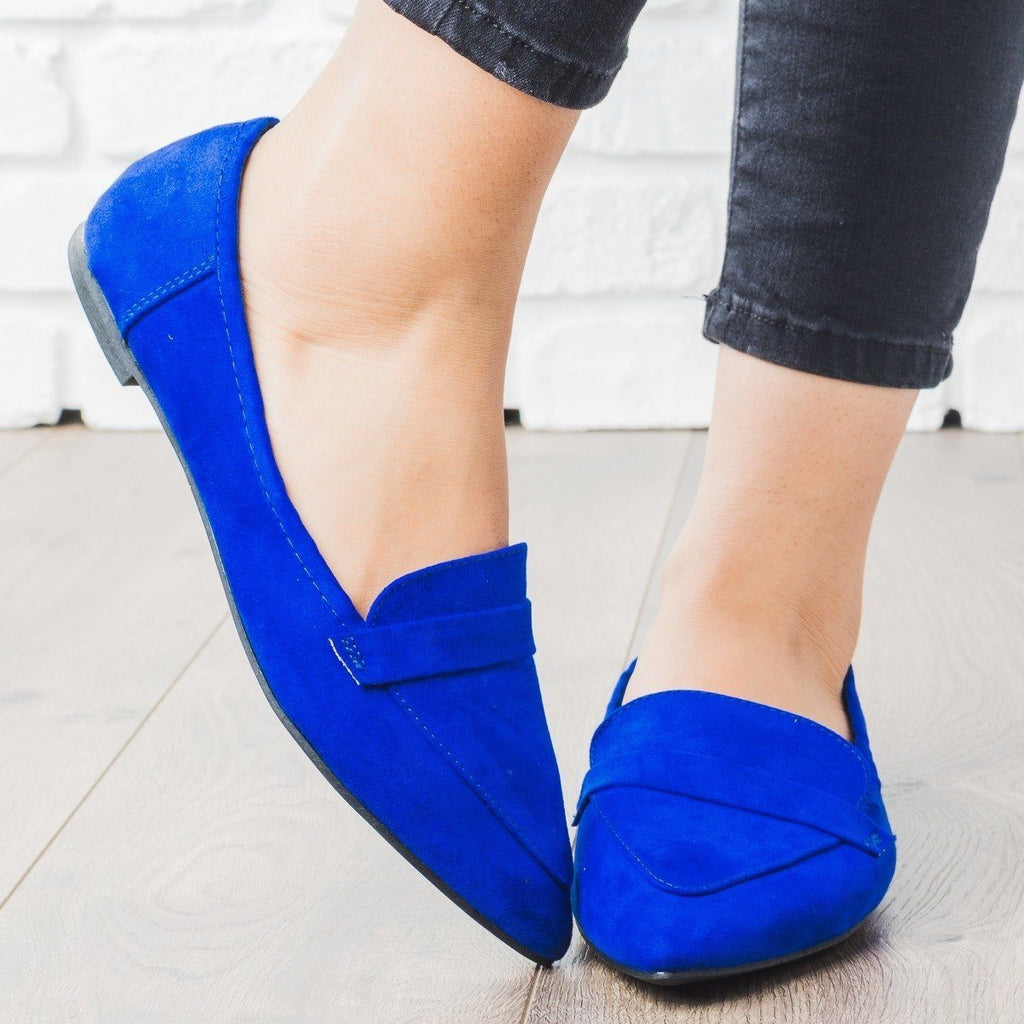Womens Pointed Toe Loafer Flats - Bamboo Shoes - Electric Blue / 5
