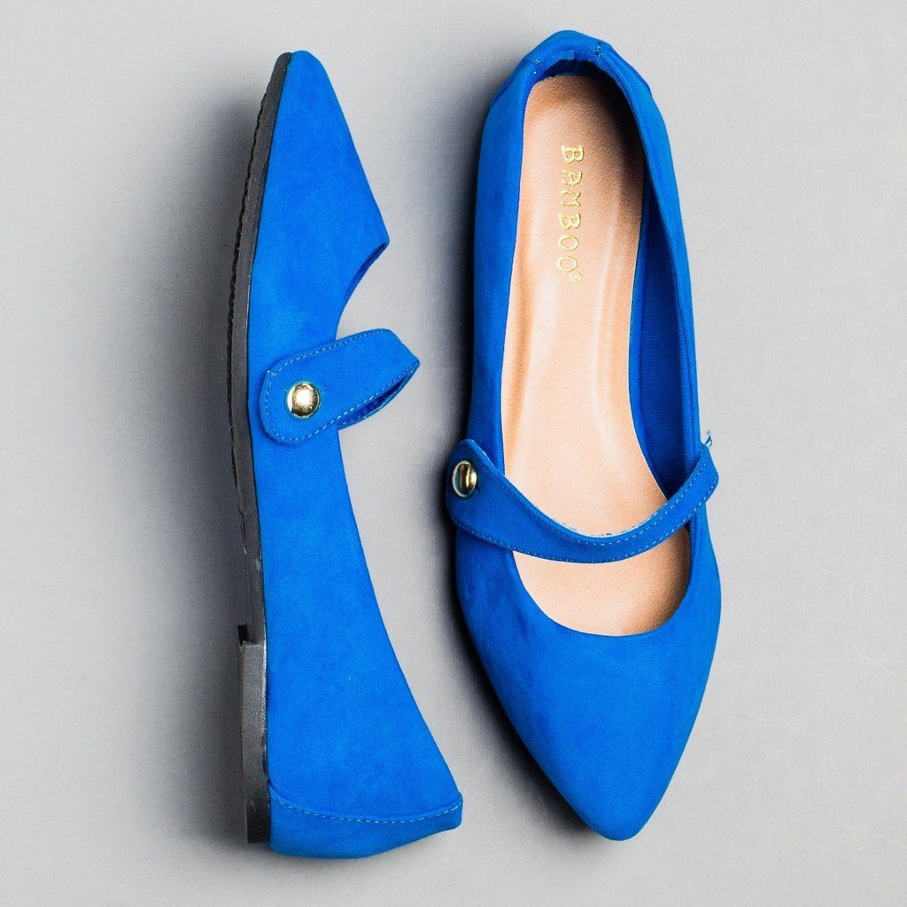 Womens Pointed Toe Mary Jane Flats - Bamboo Shoes - Blue / 5