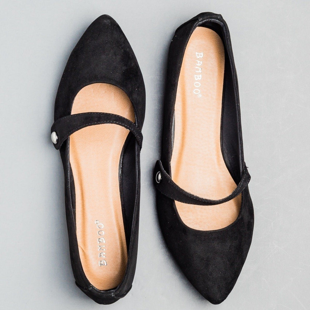 Womens Pointed Toe Mary Jane Flats - Bamboo Shoes