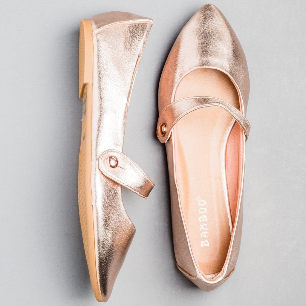 Womens Pointed Toe Mary Jane Flats - Bamboo Shoes - Rose Gold / 5